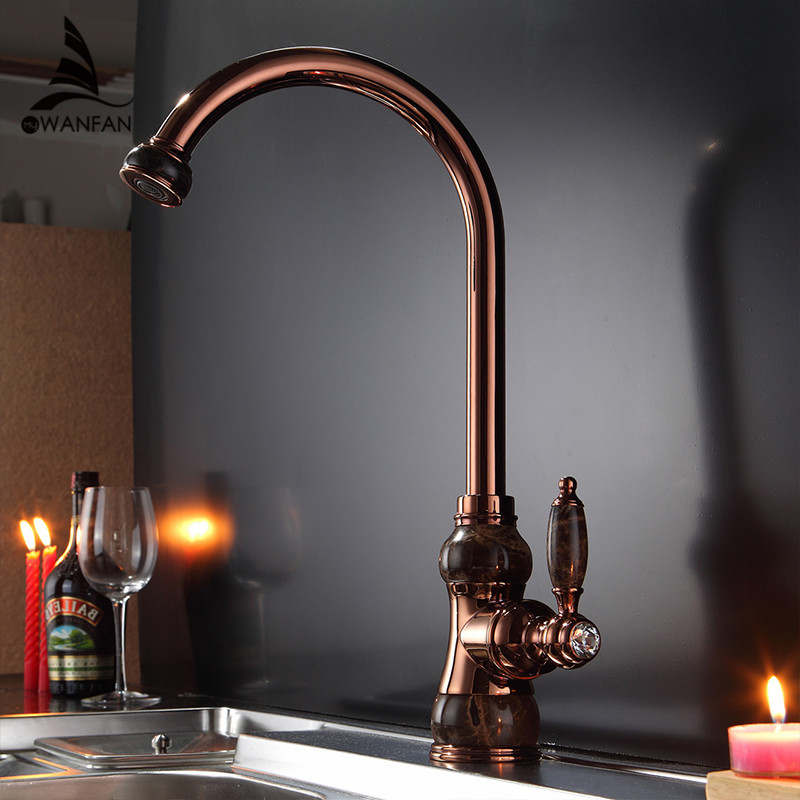 Kitchen Faucets Brass with Marble Mixer Kitchen Crane Single Handle Gold Swivel 360 Degree Water Mixer