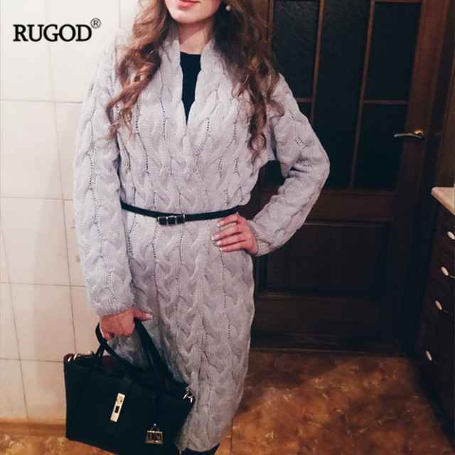 Rugod 2017 New Autumn Winter Women Cardigan Hot Sale Long Sleeve knitted Sweater Female Solid Cozy Jumpers Outerwear pull femme