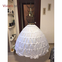 High Quality White 6 Hoops Petticoat Crinoline Slip Underskirt For Wedding Dress Bridal Gown In Stock