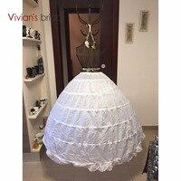 High Quality White 6 Hoops Petticoat Crinoline Slip Underskirt For Wedding Dress Bridal Gown In Stock
