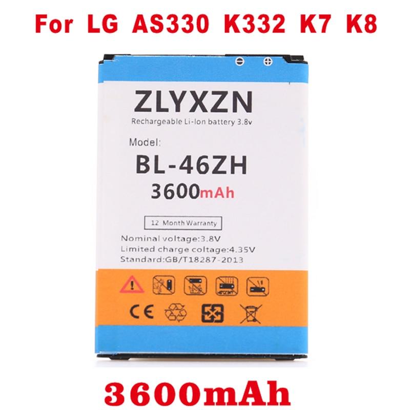 3600 mah BL46ZH BL-46ZH Batterie pour LG K7 MS330 LS675 Hommage 5 K8 K350N K8 K89 LS675 LS675 M1 M1V MS330 US375 X210 AS330 K332