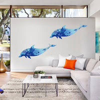 3D Blue Dolphins Sticker Living Room Bedroom Backdrop Bathroom Decorative Murals Home Decoration Large Size Wall