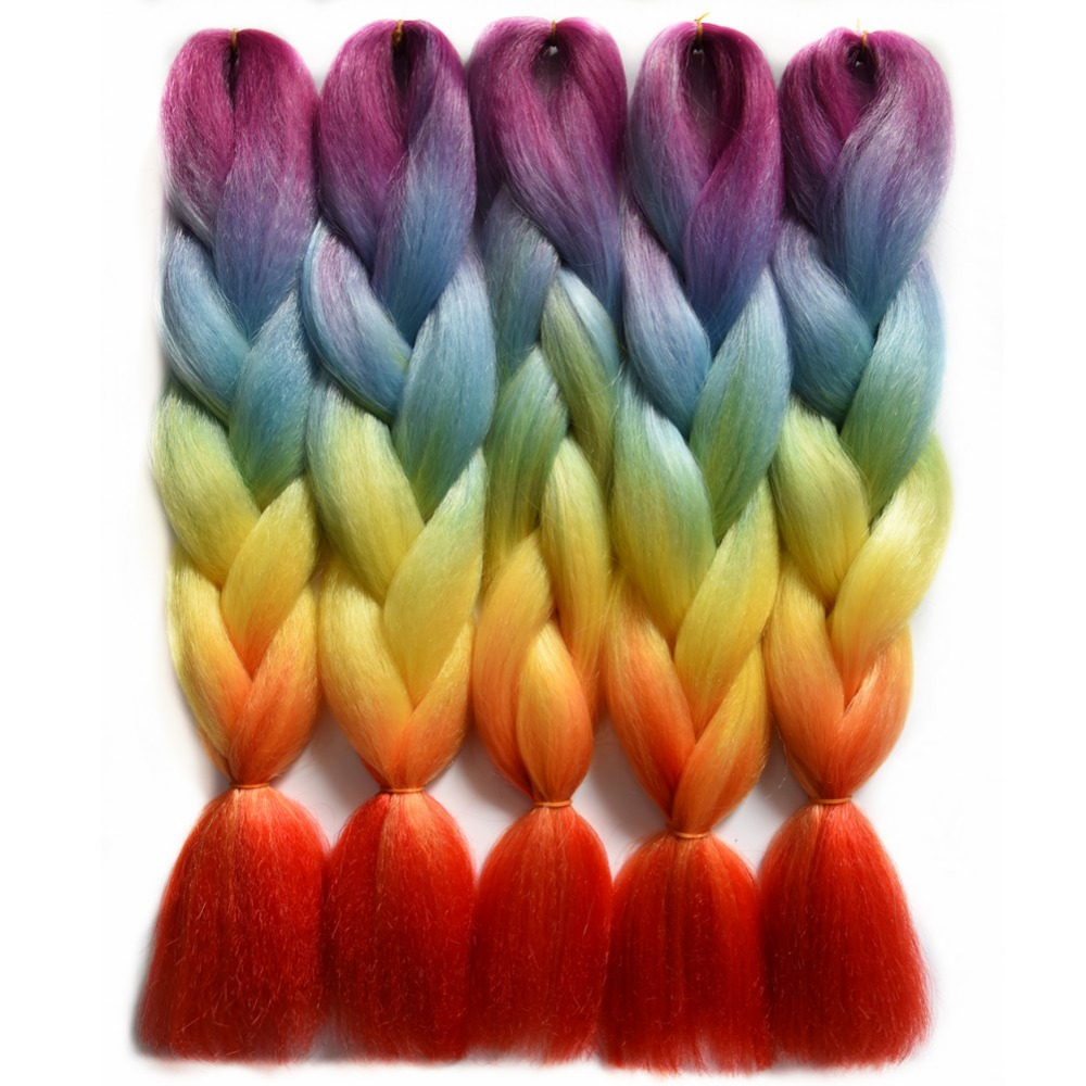 "Chorliss 24""(65cm) Jumbo Braids Synthetic Crochet Hair Extension Ombre Braiding Hair Crochet Braids Rainbow Color 100g 1pc"