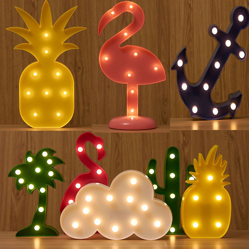 Flamingo Pineapple Cactus Night Lights 9 Style Marquee 3D LED Letter Night Lamp For Baby Bedroom Decoration Kids Cute Gift 3d led nightlight flamingo pineapple cactus night lamp christmas kids room decor letter battery led romantic new year table lamp