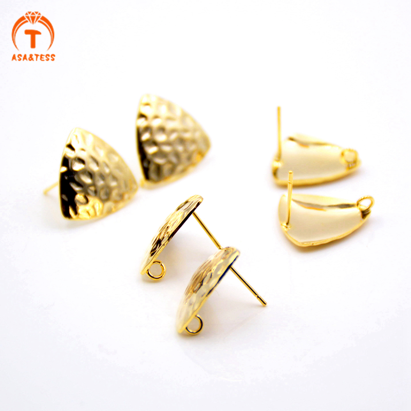 10 pcs 12mm Triangle Gold Plated Hammered Brass Ear Stud Posts Findings With Loops Gold Metal Earrings Making Jewelry Supplies