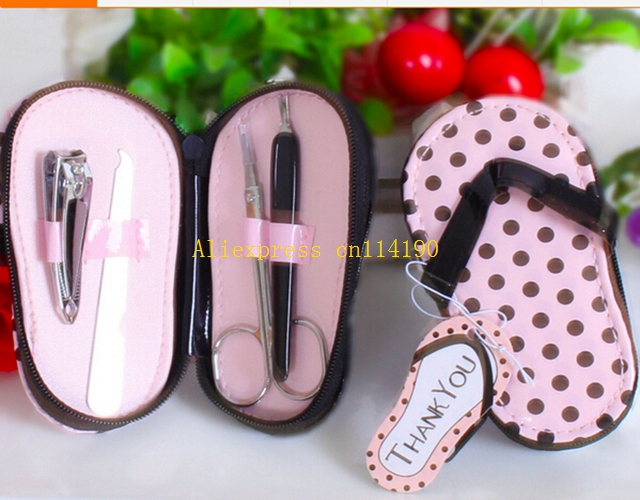 90bbb5ed9 50sets lot Free Shipping Wedding Gift Favor Polka Flip Flop 4 Pieces  Pedicure Set nail file +scissors + clippers+cuticle set