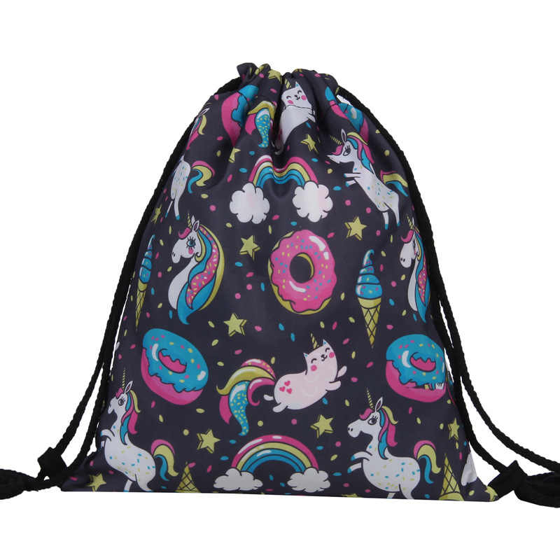 Hoomall Backpack Shoes Container Storage Bag 3D Printed Flamingo Animal Polyester Drawstring Bunch Pocket Organizer Waterproof
