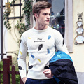 FanZhuan Free Shipping New Male men's O neck casual fashion personalized Color feather embroidery warm pullover sweater 615157