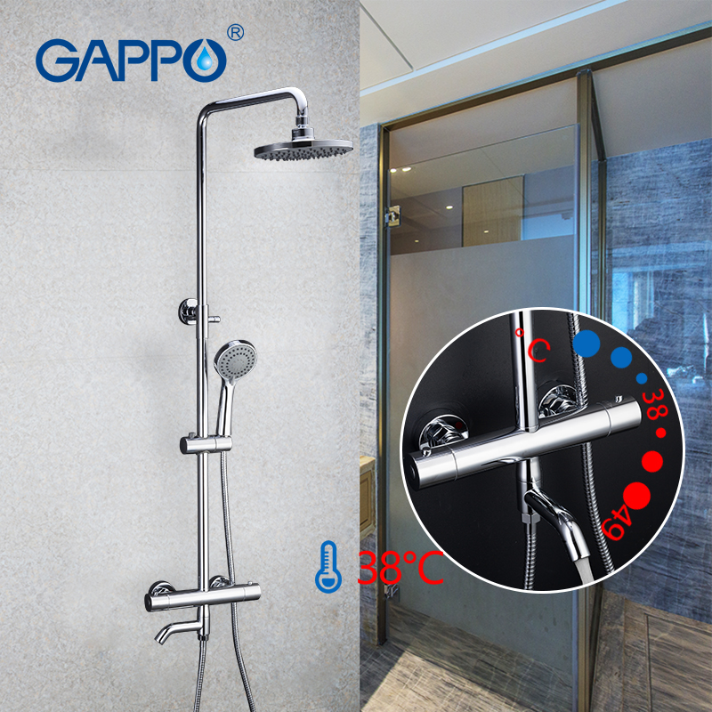 Gappo  sanitary ware suite Thermostatic shower BRASS faucet bath lift adjustable hot cold water big round head shower  gadgets