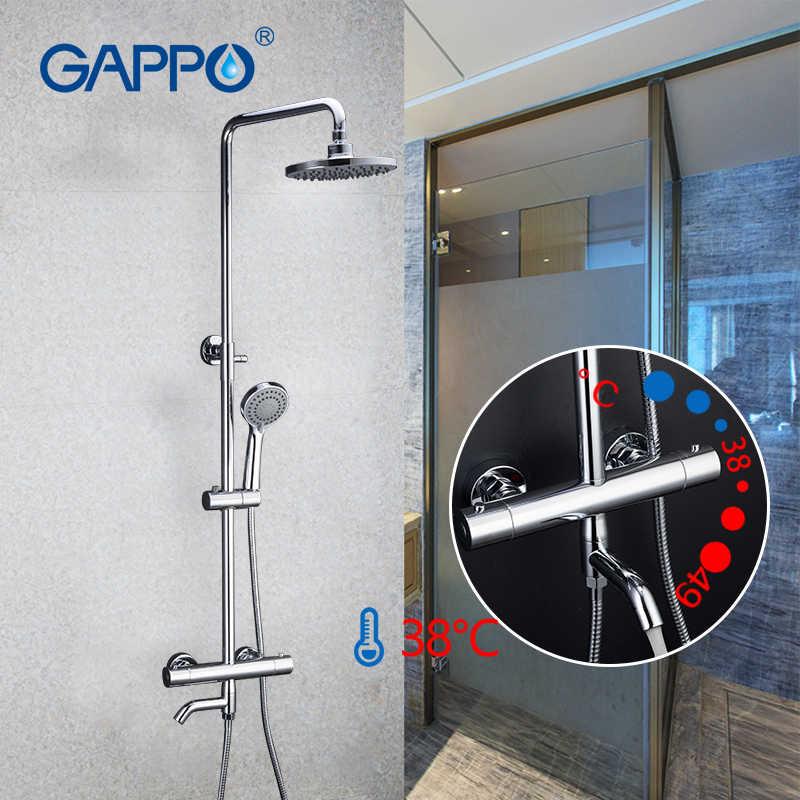 Gappo набор сантехники Термостатический душ латунный кран для ванной Лифт Регулируемая горячая холодная вода большая круглая головка гаджеты для душа