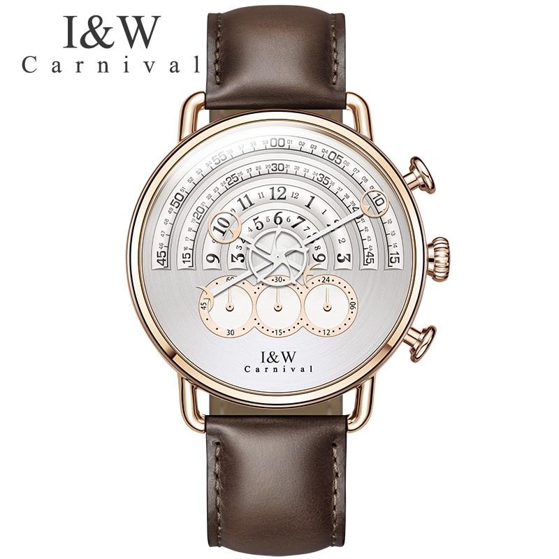 Carnaval 2017 créatif homme XFCS or Rose bracelet en cuir marque de luxe hommes mode sport Quartz horloge Geek Style gratuit montre de Date-in Montres à quartz from Montres    1