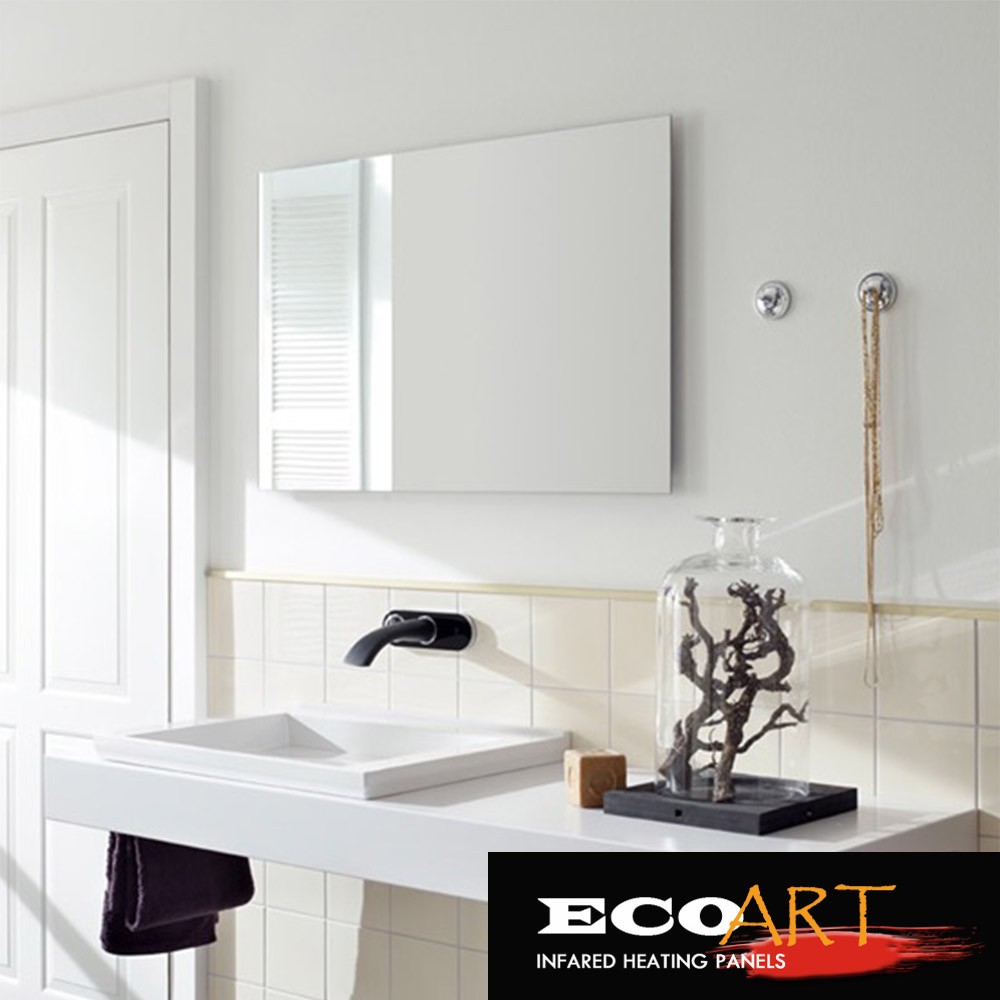 Eco Art 450W Comfort Waterproof wall mounted Electric Radiant Mirror Heaters for Bathroom free shipping eco art 450w white electric wall heaters home ir heating solutions