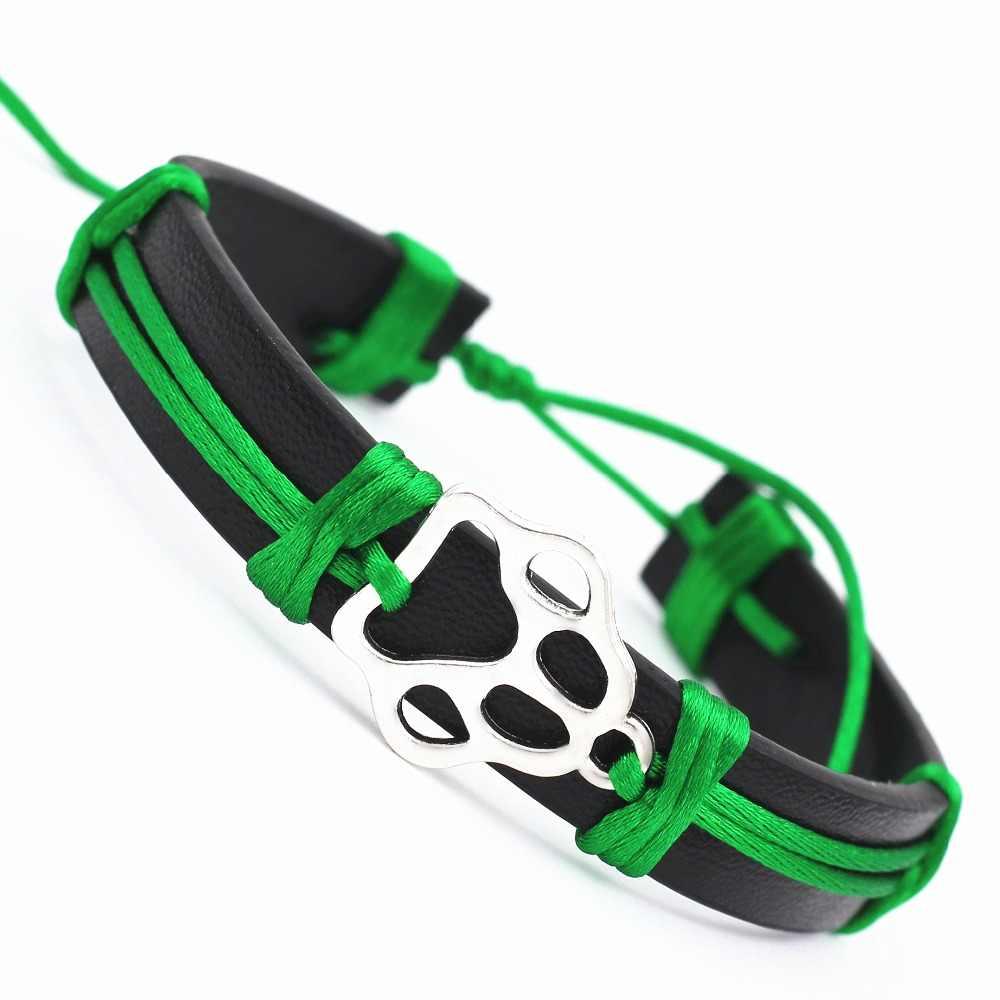 10 kolorów łapa psa urok skórzana bransoletka Wrap karta życzeń dla kobiet dziewczyn regulowana przyjaźń antyczne srebrne bransoletki dla zwierząt domowych