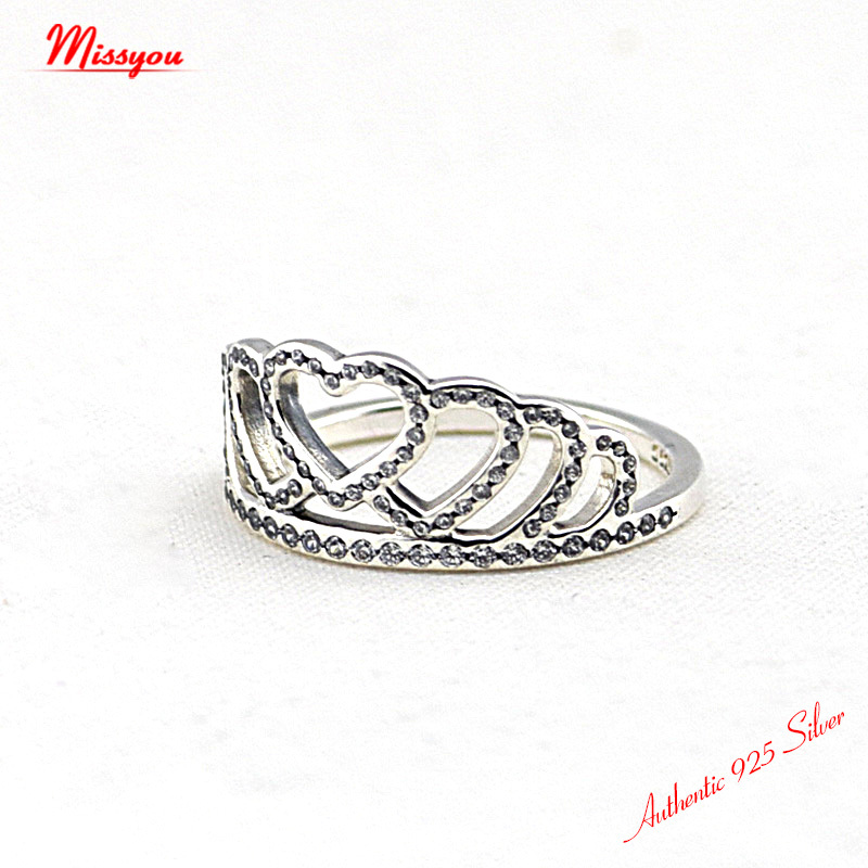 6259d9954cd ... Sterling Silver Rings for women Hearts Tiara, Clear CZ silver rings  women wedding party rings ...