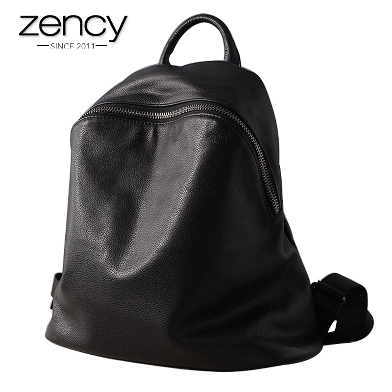 Zency Hot Sale 100% Kulit Asli Ransel Wanita Hitam Cool Knapsack Girl's Schoolbag Mudah Fesyen Lady Travel Bag Laptop