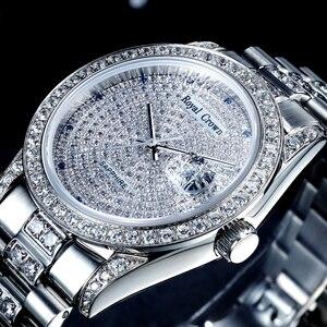 Broche réglage cubique Zircon luxe montre pour hommes montre pour femme Fine horloge cristal heures acier inoxydable Bracelet amoureux boîte-cadeau