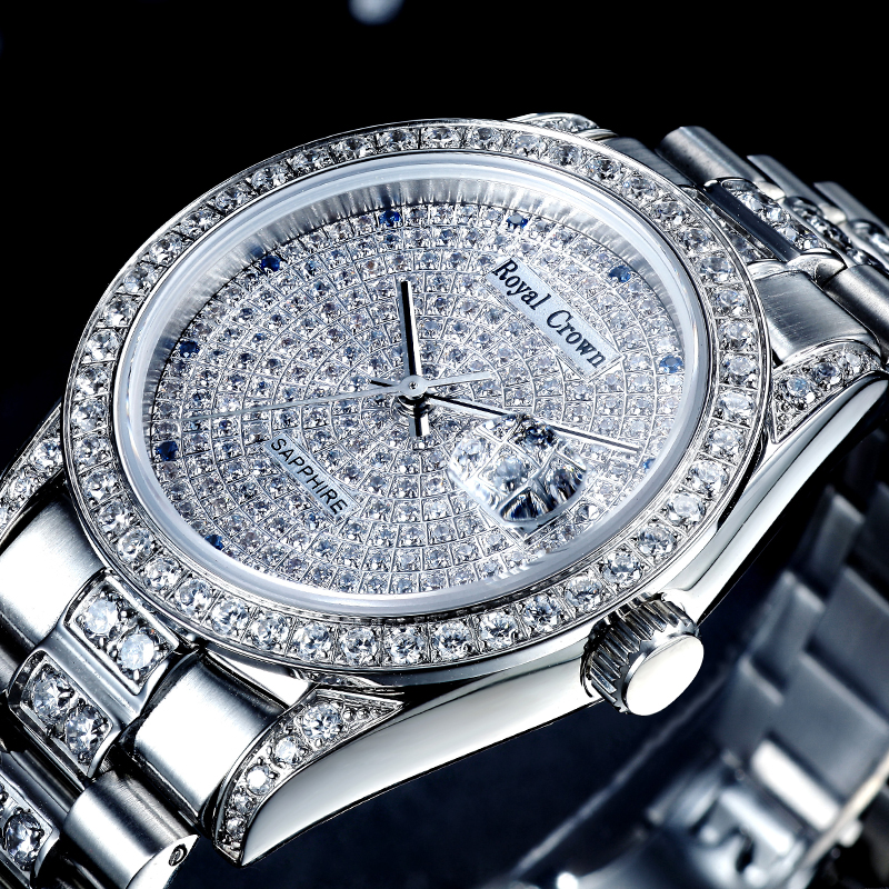 Prong Setting Cubic Zircon Luxury Men's Watch Women's Watch Fine Clock Crystal Hours Stainless Steel Bracelet Lovers' Gift Box