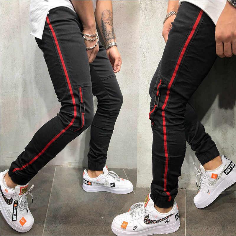 2019 Mannen Stijlvolle Streep Gescheurde Jeans Broek Biker Skinny Straight Gerafeld Denim Broek Nieuwe Mode Skinny Jeans Mannen Kleding AB12