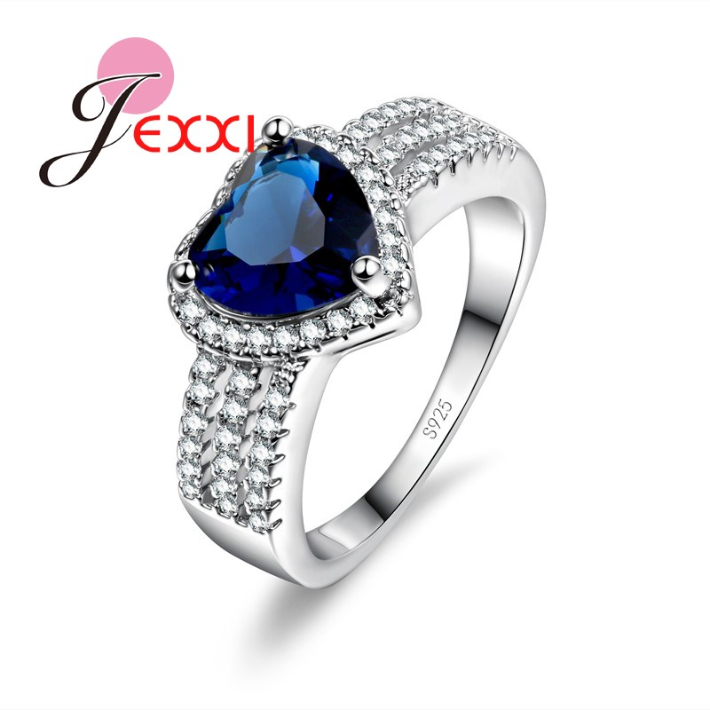 JEXXI Hot Blue Heart Austrian Crystal Wedding Engagement Rings For Women Fashion 925 Sterling Silver Finger Ring Brand Jewelr