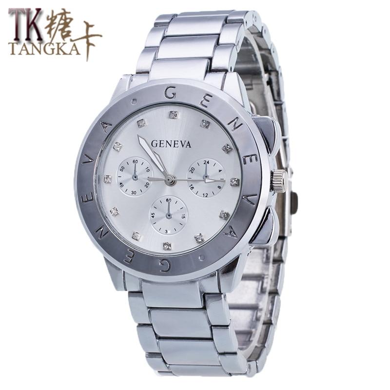Luxury Geneva Diamond Watch Hour Hand Graphic Display Alphabet Striped Stainless Steel Dial Ladies Quartz Watch Aluminum Alloy S luxury aluminum watch