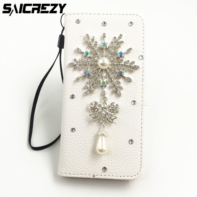7a61576f02e05c Christmas Gifts Snowflake Leather Bling Diamond Rhinestone Card Phone Cover  for iPhone 4 4s 5 5s 5c SE 6 6s 7 8 X Plus Case