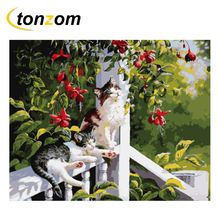 RIHE Pretty Cat Drawing By Numbers DIY Animal Daisy Painting Handwork Cuadros Decoracion Oil Painting Art Coloring Home Decor new hot chinese coloring watercolor lovely cat animal painting drawing books for adults