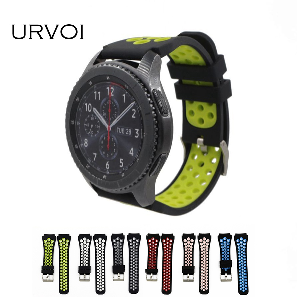 URVOI band for Samsung Gear S3 R760 R770 strap wrist colorful silicone band with quick release pins breathable modern style 22mm urvoi band for samsung galaxy gear s3 r760 r770 strap crazy horse vintage leather with closure classic design replacement 22mm