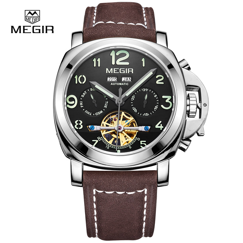 Megir Luminous Mechanical Watch Men with Genuine Nubuck Leather Strap 1