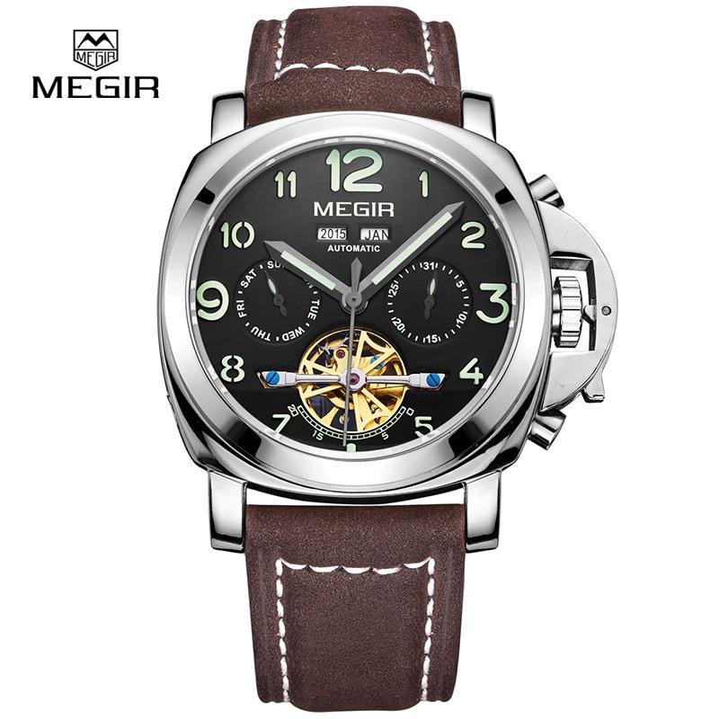 Gratis frakt Megir 3206 Luminous Mechanical Watch Men Äkta Nubuck - Herrklockor - Foto 2
