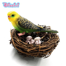 New Parrot Bird Nest Egg Simulation plastic animals model figurine one piece action figure Hot toys set Gift For Kids children