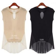 Fashion Casual Women Rayon Chiffon Patchwork Blouses American Euro 2014 New Brand Designer Sleeveless