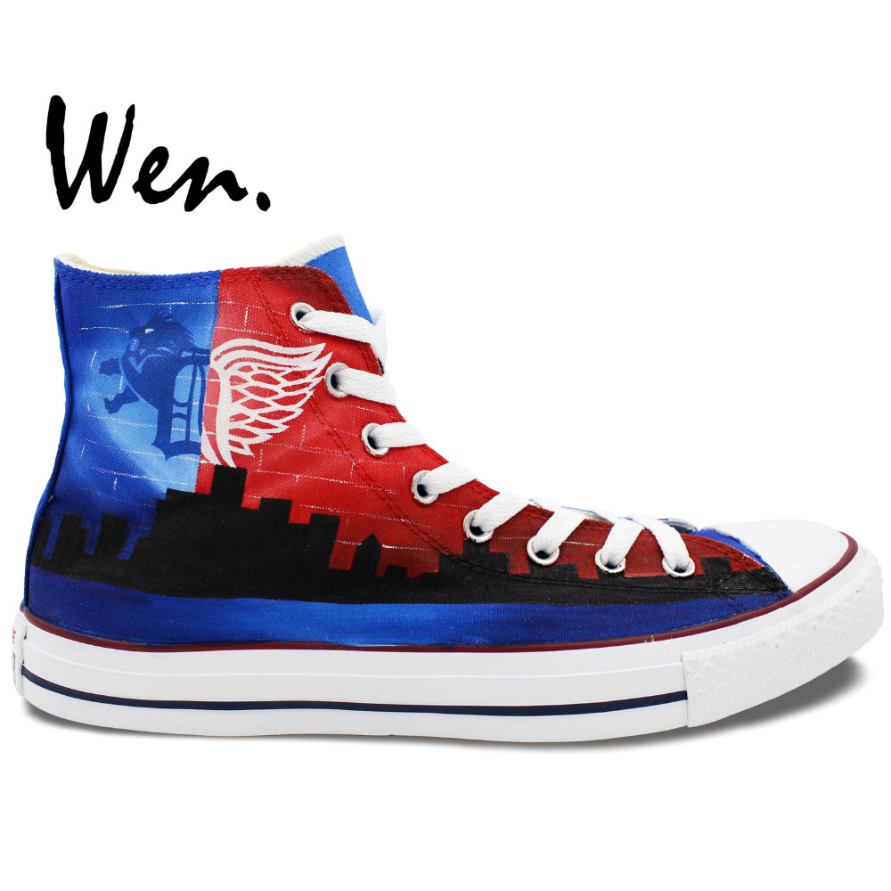 Wen Design Custom Hand Painted Shoes Detroit Skyline Men Women's Blue Red High Top Canvas Sneakers