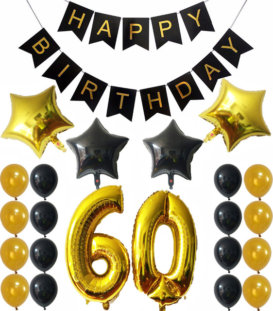 60th BIRTHDAY PARTY DECORATIONS Happy Birthday Black Banner Gold Number 60 Balloons GoldBlack Latex Balls