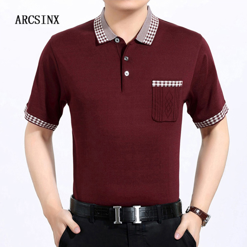 ARCSINX Summer Mens   Polo   Shirts With Short Sleeve   Polo   Man Big Size Knitted Tee Shirt Men Casual Jersey Men Slim Fit Men's   Polos