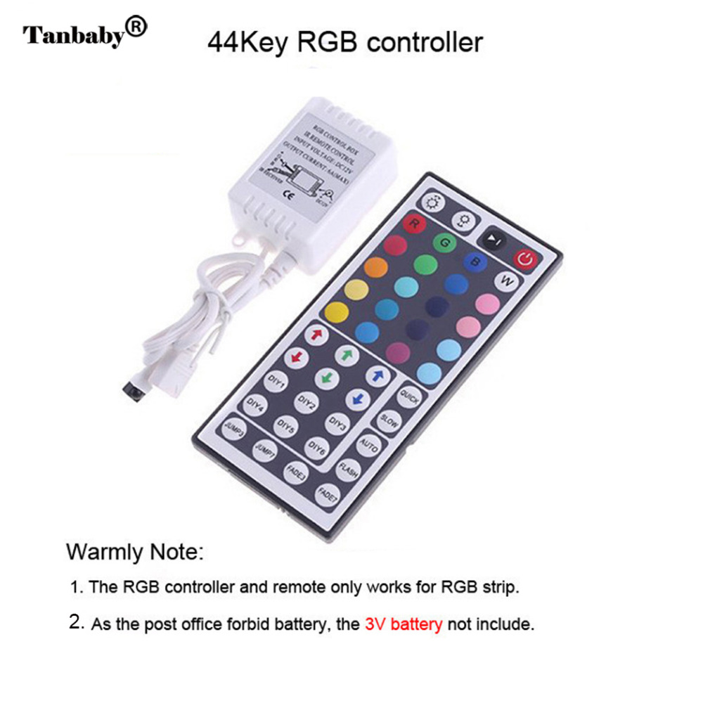 Tanbaby RGB Led Strip 5050 Waterproof flexible Rope + 44key RGB LED controller +12V 5A 60W Power adapter oudtoor lighting