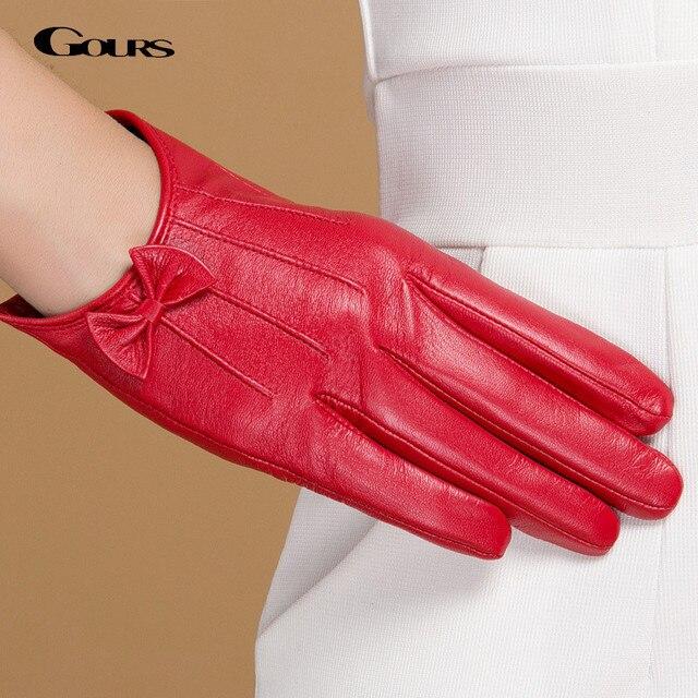 Gours Зимние Оригинальные Кожаные Перчатки Женщин Короткий Красный Черный Зеленый Дамы Перчатки Новый Бренд Бантом Козьей Варежки Guantes GSL047