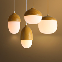 Scandinavian Style Glass Bar Cafe Restaurant Imitation wood Cute Nuts Light Pastoral Chandelier CL MZ140