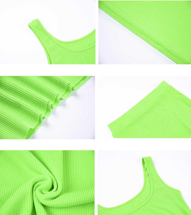 Женский комплект на каждый день Simenual, базовый однотонный комплект в рубчик из кроп-топа и юбки, для вечеринки, клубная одежда, летняя коллекция, 2019
