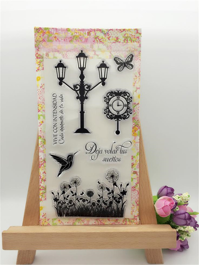vintage clock and street lamp Scrapbook DIY photo album clear stamp transparent stamp for paper carft card CL-219 king ring street album no 1
