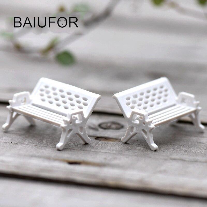Mini White Park Chairs Model Micro Landscape / Microgreen Decoration Ornament DIY Micro Garden / Plant Accessories Material