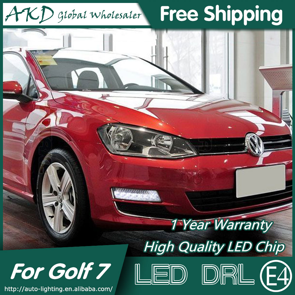 AKD Car Styling for VW Golf 7 DRL 2013-2015 Golf7 LED DRL Fog Lamp Daytime Running Light Fog Light Signal Parking Accessories eouns led drl daytime running light fog lamp assembly for volkswagen vw golf7 mk7 led chips led bar version
