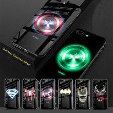 Marvel Мстители Капитан Америка светящийся чехол из закаленного стекла для телефона для iPhone 11 Pro XS MAX XR 10 8 7 6 6s Plus чехол Спайдермен