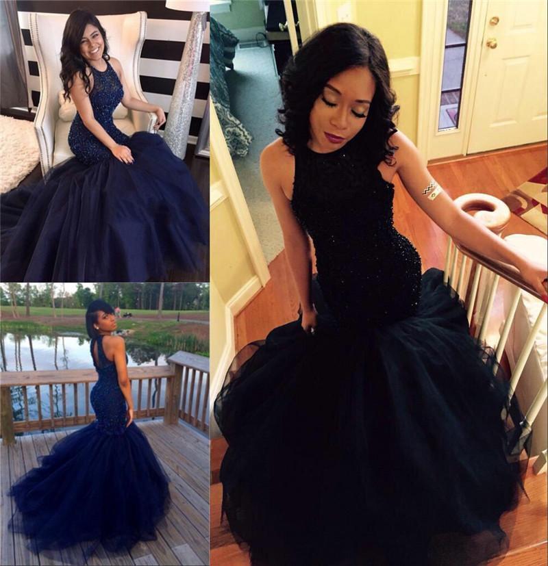 2017 Navy Blue Mermaid Prom Dresses Formal Evening Wear Plus ...