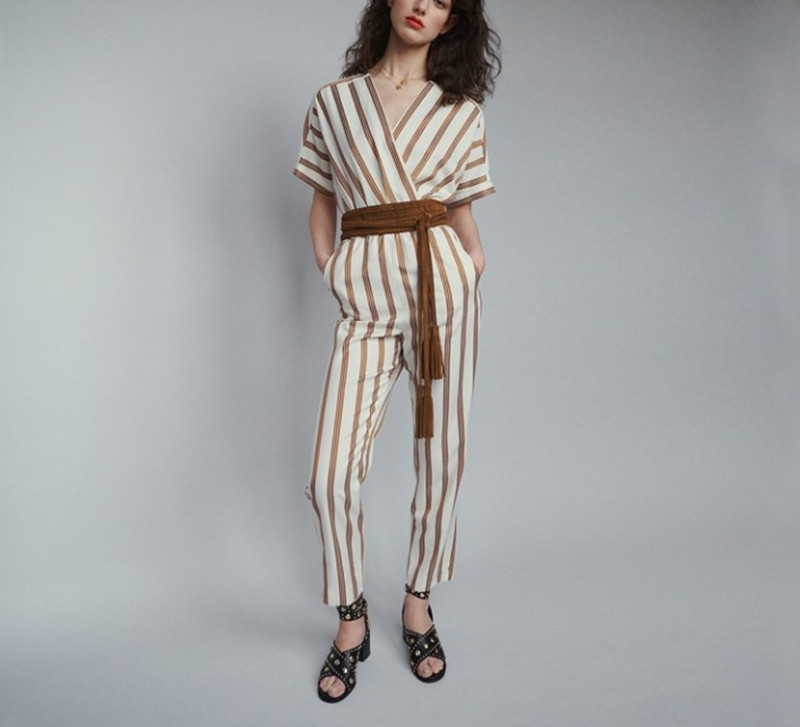 Women Jumpsuits 2019 New Spring and Summer ladies V neck Short Sleeve Striped Jumpsuit casual