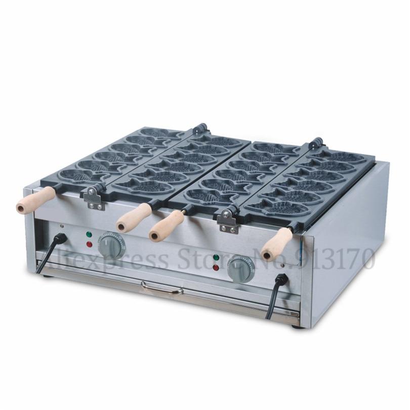 Commercial Électrique Antiadhésive 12 pièces Poisson Gaufre Taiyaki Maker Machine Baker 220 V/110 V 2 Ensembles de Plaques En Bois Poignées