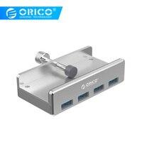 ORICO MH4PU Алюминий 4 порта USB 3,0 клип-хаб на зажиме для настольного ноутбука клип диапазон 10-32 мм с 100 см Дата кабель-серебро