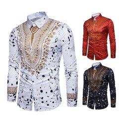Retrofit 3D Imprimir Dashiki Africano Padrão Ouro Homens Camisa Manga Longa Slim Fit Turndown Collar Casual Cool Moda Camisa Para homens