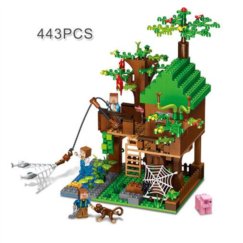 443pcs MY World Minecraft City Forest House Bricks DIY Building Blocks Kit Toy Chirldren Birthday Gifts lepin minecraft 504pcs the forest secret my world figures building blocks bricks fun castle house toys for children gifts