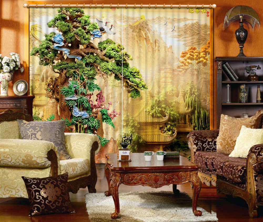 3D Curtain Modern Living Room Curtains Chinese Landscape Painting Sculpture Home Curtains Decoration Bedroom Blackout Curtain