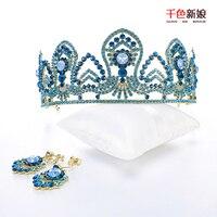 Cô gái tuyệt đẹp Pcs vương miện pha lê màu xanh Rhinestone chúa tóc đồ trang trí hairband Prom Diadem cô dâu phụ kiện đám cưới cuique